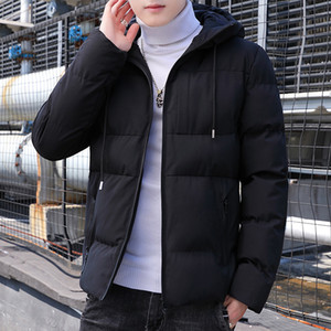 New Parkas Men Winter Thick Bomber Jacket Mens Fashion Slim Fit Cotton Padded Hooded Coat Casual Baseball Outwear Men Plus Size 201130