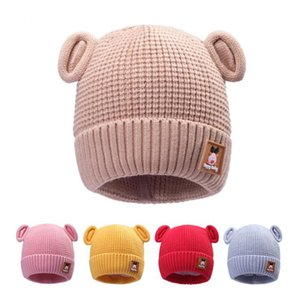 New autumn and winter new bear ears woolen hat baby plus velvet cuffed warm knitted hat