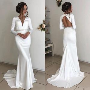 Modern Mermaid Wedding Dresses with Beaded Sashes Long Sleeves V Neck Backless Vestidos De Novia Sweep Train Wedding Dress Bridal gowns