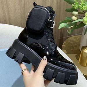 Botas de Rois das Mulheres Outono e Inverno Preto Patente de Couro Explosão Modelo de Couro Ankle Boots Curto Ankle Martin Boots Jogo Diário