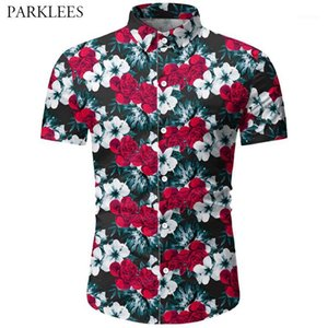 Men's Casual Shirts Hipster Tropical Floral Printed Mens Summer Shirt Slim Fit Hawaiian Men Short Sleeve Button Down For Men1
