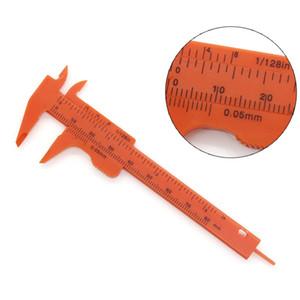 Portátil Mini Vernier Calibrador Regla Micrómetro Medidor de 80 mm Longitud Vernier Calibradores Regla de doble regla Herramienta de medición de plástico HWF3165