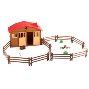 Simulation Farm Ranch DIY Fight Building Blocks House Animal and Plant Fence Assembly Sand Table Scene Model Toy