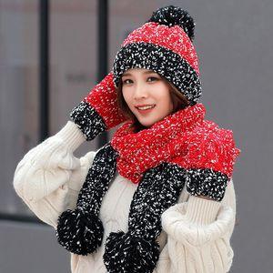 Presente de Natal Floco de neve Beanie Bonito Inverno Lãs Chapéu Lenço Luvas Three-Peça Versão Coreana da Tendência de Selvagem Doce Quente Malha Hwe3253