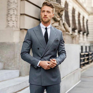 Gray Men Suits Double Breasted Wedding Suits For Men Custom Made Business Formal Flim Fit Tuxedo Groom Blazer Bridegroom Prom Jacket+Pants