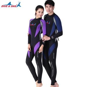 DIVE&SAIL 1.5MM Neoprene Long Sleeved One-piece Wetsuit Couples Full Body Diving Suit Men Women Patchwork Snorkeling Jumpsuit