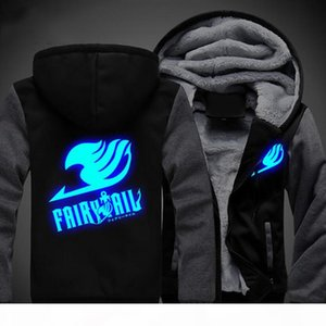 US size Men Women Anime Fairy Tail Logo Cosplay Luminous Jacket Sweatshirts Thicken Hoodie Coat