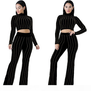 Europe Style womens long sleeve full length jumpsuit fashion leisure hot drilling Bodysuit 2 Two pieces sets Romper Fitness Casual Jumpsuit