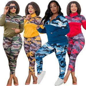 women fashion Camouflage printed tracksuit Winter 2 two piece outfits zipper Pullover sweater leggings trousers set S-5XL plus size clothing