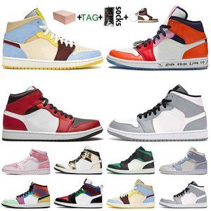 2021 avec boîte Mini-cerne Maison Château Jumpman 1 1S Femme Basketball Chaussures Mens Entraîneurs Lumière Fumée Gris Sneakers Taille 13