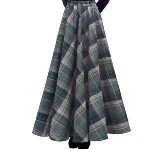 TIYIHAILEY EXPÉDITION GRATUITE Nouveau Long Long Maxi Épais Jupes A-Line pour Femmes Taille élastique Hiver Jupes en laine Plaid à carreaux chauds avec poche 201110