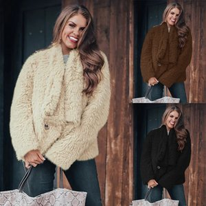 2020 European and American fashion women's clothing warm pure color lapel long sleeve coat thick coat women