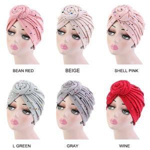 Sequined Flower Hair Cap Turban Women Twist Knotted India Hat Headbands Girls Head Wear Night Sleeping Hair Styling Tools