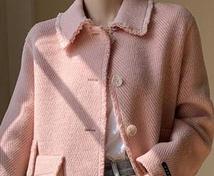 Women Wollen Trench Wool Blend Coat Retro Simple Pinstripe Coat Lapel Loose Woolen Short Women