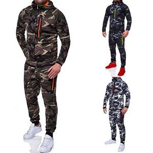 Men Fashion Camouflage Jackets Pants Set Male Tracksuit Outdoors Suit Men's Gyms Suit Set Casual Zipper Sportswear Drop Shipping