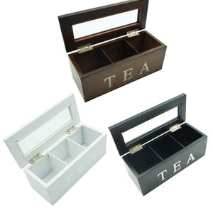 Wooden Storage Box 3 Grid Wooden Tea Box Kitchen Storage Box With Lid Coffee Tea Bag Storage Rack Bamboo Chest Gift Case Z1123