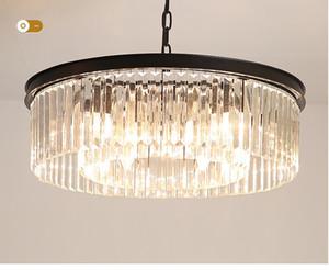 Vintage Loft Industrial Pendant Lights Black Hanglamp Stair Dining Room K9 crystal Shade Luminaire Suspendu Nordic Pendant Lamp