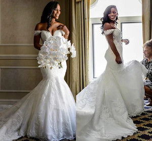 Elegant Lace Mermaid Wedding Dresses 2021 Off the shoulder with Sleeves Lace Corset Back Court Train African Cheap Wedding Bridal Gowns