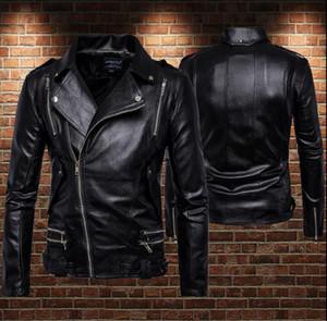 Men's Fur & Faux Multiple Zipper Motorcycle Leather Jacket Men Large Lapel Short Clothes Mens Jackets And Coats Biker Punk Rock Black