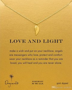 Dogeared Choker Necklaces With Card Gold Silver Wing Pendant Necklace For Fashion Women Jewelry LOVE AND LIGHT free shipping