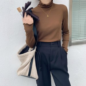 2020 New Arrival Autumn winter Women Casual Long Sleeve Turtleneck T Shirt All-matched Warmth Thickened T Shirt Women A896