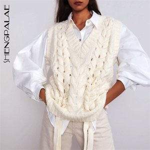 SHENGPALAE 2020 New Spring Women Knitted Sweat-ers Pullovers Sleeveless Loose Casual Ladies Knit Sweater Vest Female Chic ZA3075 Q1119