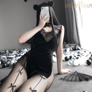 Sexyy Cosplay Kostümleri Çin Geleneksel Elbise Kadınlar Gotik Punk Mini Şeytan Hizmetçi Cheongsams Parti Moda Düz Renk Saten V