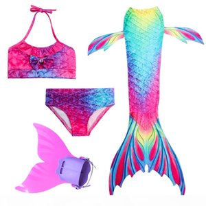 2019 HOT 4PCS Set Girls Swimming Mermaid Tails with Fin Cosplay Swimwear Bikini Bathing Suit Dress for Girls Kid Summer Swimsuit