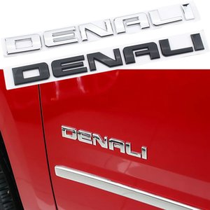 Silver Black For GMC SIERRA DENALI Rear Trunk Side Body Nameplate Logo Emblem Letters Sticker ABS Stereo 3D Car Styling