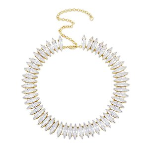 Hip Hop Necklaces For Women Luxury 20MM Bling Zircon Necklaces Fashion 18K Gold Rhodium Plated Geometric Tennis Chain Necklaces