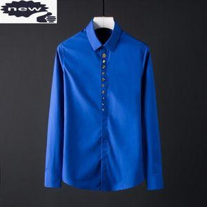 Designer Mens Rivets Long Sleeve Formal Shirt Groom Wedding Party Dress Shirts Plus Size Business Man 2021 New Top Chemise Homme