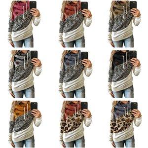 Tamaño más mujeres camiseta Otoño Invierno Fleece con capucha de manga larga con capucha Montones collar del estampado patchwork Pullover Diseño Top Ropa