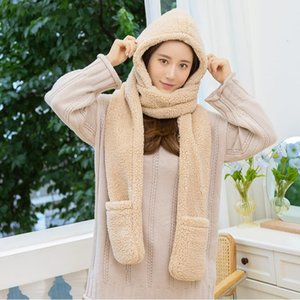 Women Faux Lamb Wool Warm Hat Scarf Thicken Solid Color Outdoor Scarves With Hat Gloves Winter Girls Women's Fleece Caps