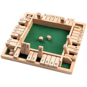 Wooden Mathematic Traditional Pub Board Dice Game Family Travel Fun Game Set 4 Sided 10 Numbers Shut The Box Board Box#W