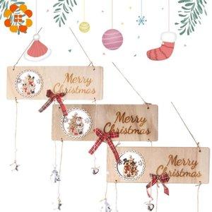 1 PCS Rectángulo de madera Serie de Navidad Placa de la Puerta Play Pendientes Decoraciones Artesanías de madera Adornos de árbol de Navidad Decoración para el hogar Suministros1