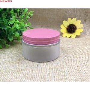 50 stücke Kostenloser Versand 100 150 200 g Leerer mattierter Plastikflaschen Glas Tank Topf Gold Rosa Aluminiumkappe Kosmetische ContainerGood-Qualität