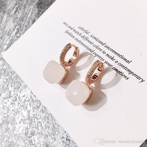 2020 new women hoop earrings hot color stone micro inlaid candy color square stone crystal earrings diamondearrings