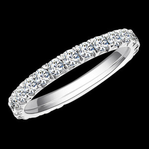 Eaw Solid 14k 585 Bianco Gold 1.2ctw 2mm DF Colore Moissanite Eternity Band Matrimonio Anello Moissanite Anello per le donne Anello da donna J0112