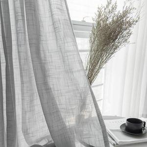 Gray Cotton Linen Tulle Drapes Curtain Decorative Modern White Sheer cortina para janela de quarto Curtain For Bedroom