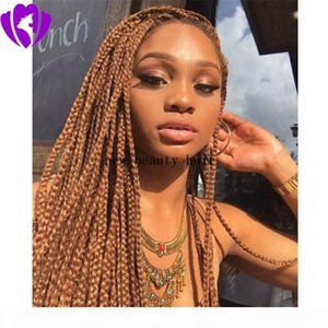 Hot Sale African Box Braid Wig Synthetic medium brown color Full Braids Lace Front Wigs with baby hair natural hairline