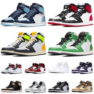 retro 1 1s off white Nuevo Jumpman 1 1s UNC Patent Basketball Shoes Hombre Mujer Satin Black Toe Volt Gold Lucky Green Light Smoke Grey Zapatillas deportivas