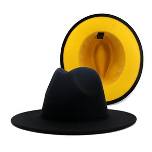 Black with Yellow Bottom Patchwork Panama Wool Felt Jazz Fedora Hats with Black Felt Band Party Cowboy Trilby Gambler Hat