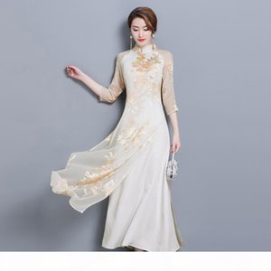 Summer Dress Women Long Improved Cheongsam Vietnam Traditional Dresses Robes Aodai Graceful Stand Collar Dress Slim Qipao Ao dai
