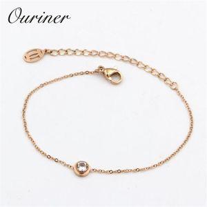 Single Jewelry Thin Rope Line Bracelet Single Crystal Bangle Rose Gold-color Chains Charms Bracelet Women Lover K0002-1 sqcpIQ