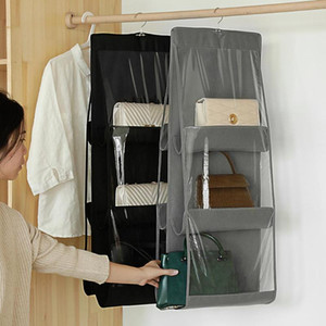 Сумки для хранения Практические 6 карманов складной подвесной сумочка Прозрачный кошелек Tote мешок держатель органайзер двери стены шкаф стеллаж крючок вешалка