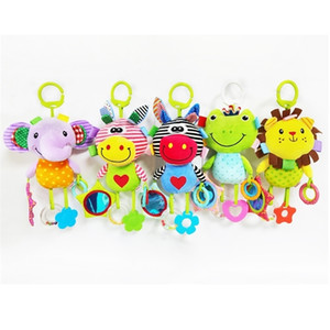 Baby Carriage Decoration 2020 NEW Infant Hanging Plush Animals Doll Multifunction Teether Wind Bell Comfort Toy Q1121