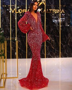 2021 Arabic Aso Ebi Red Mermaid Prom Dresses Long Sleeves V Neck Sequined Evening Dress Sparkly Formal Cocktail party dresses