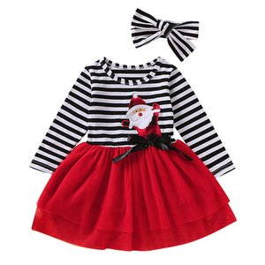 2020 Christmas New Baby Clothing Sets Fashion Style Santa Striped Print Tulle Dress+headband Outfits 2pcs Girls Clothes 9