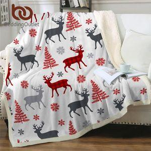 BeddingOutlet Christmas Deer Tree Throw Blanket Snowflakes Sherpa Blanket Elk Reindeer Bed New Year Gift Cobertor