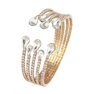YFJEWE Luxury 5 row Crystal Bracelet Ladies Gold color Bracelet Bride Rhinestone Party Bridesmaid Gift Jewelry B273